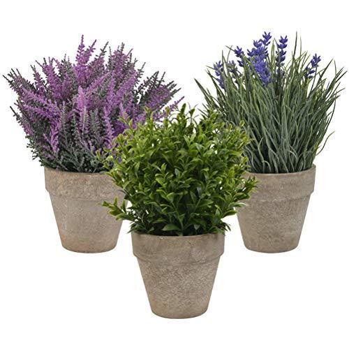 WOWOSS Piantas Artificiales Decorativas con Maceta, Flores Falsas Lavanda Plástico para Hogar, Oficina y Restaurante (3 Piezas)