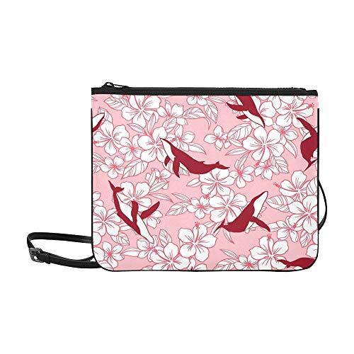 WYYWCY Hibiscus Whale Drew Hibiscus Whale Benutzerdefinierte hochwertige Nylon Slim Clutch Bag Cross-Body Bag Umhängetasche