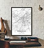 ZWXDMY Leinwand Bild,Syrien Damaskus Stadtplan Schwarze Und