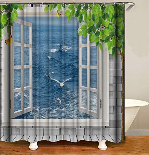 ZZZdz Les Mouettes vliegen op de zee, blauw Douchegordijn, waterdicht, gemakkelijk te reinigen. 180 x 180 cm.