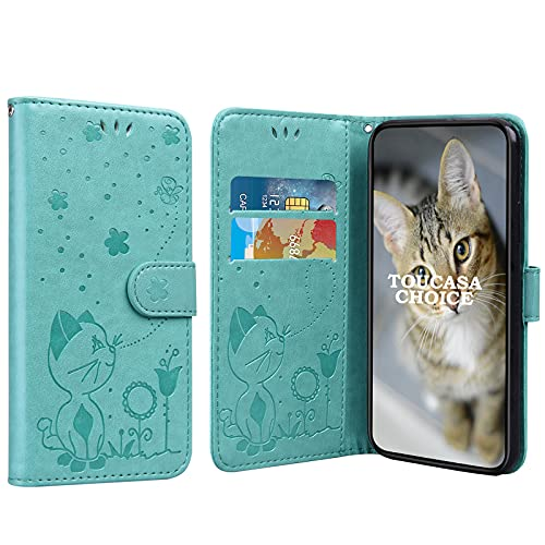 TOUCASACHOICE Funda para iPhone 6S Plus/iPhone 6 Plus (5,5 Pulgadas), Diseño de Gato y Abeja en Relieve Case PU Cuero Case Protectora Cartera Soporte Plegable Función Fundas Case Cover (Verde)
