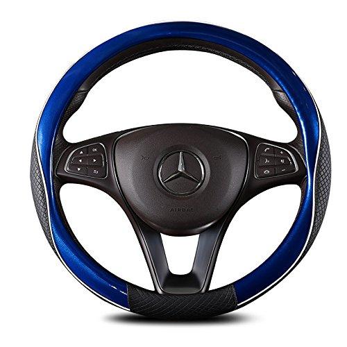 ISTN Housse de volant unisexe de haute qualité en cuir PU durable, accessoire de voiture de sport, 38 cm, bleu