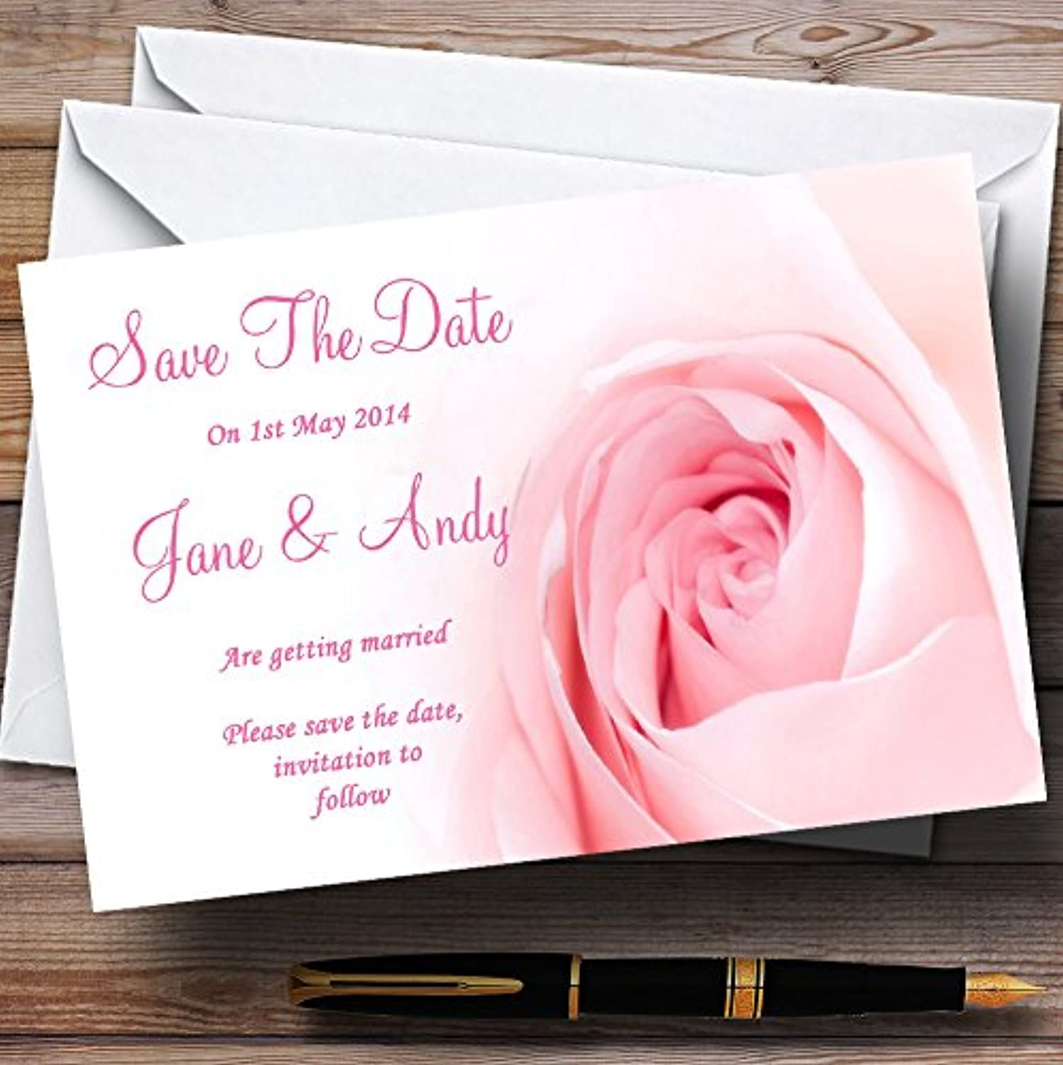Stunning Pale Baby Pink pink Personalised Wedding Stationery Save The Date Cards