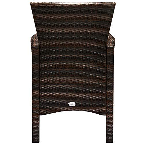 Deuba Poly Rattan Sitzgruppe Garten 8 Breite Stühle 7cm Auflagen Gartentisch Akazie Holz 8 Personen Gartenmöbel Set Braun - 8