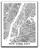 New York City Map Wall Art - 11x14' UNFRAMED Print - Modern, Minimal, Black And White NYC Wall Decor - NYC Souvenirs, Poster