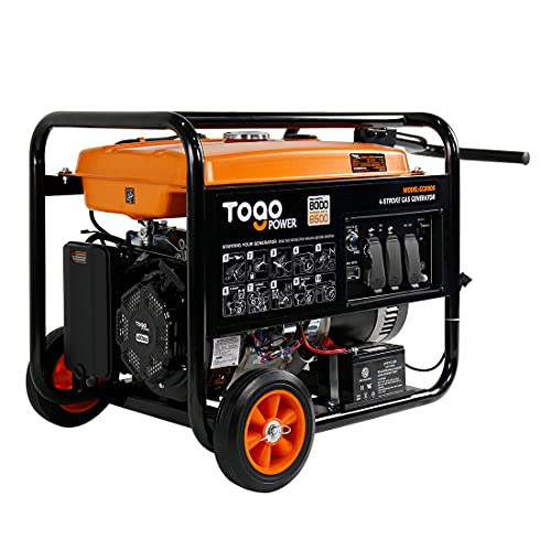 Gasoline Powered Generator , Hurricane/ Flood Supplies with 8000 Watts Remote Electric Start Backup for Home Use, RV Ready, CARB Compliant - TogoPower GG8000