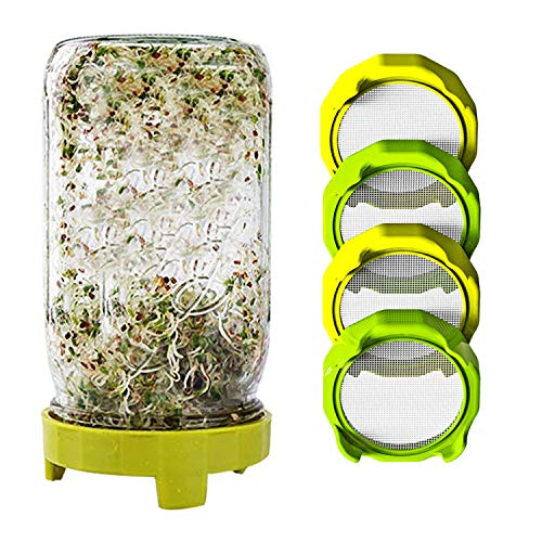 4 Pcs Sprouting Lids, Plastic Sprouting Jar Lids with Stainless Steel Screen for Mason Jars Wide Mouth Canning Lids, Sprout Germinator Set Sprout Maker for Bean Sprouts, Broccoli Seeds, Alfalfa, Salad