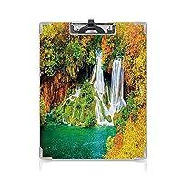 カスタム クリップボード クリップファイル 自然 事務用品の文房具 (2個)色あせた秋の木々の間の岩を流れる滝風景ジェイドグリーンマリーゴールドシナモン