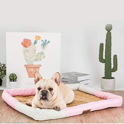 Haustier-Bett, Vier Jahreszeiten Universal-Mat EIS Pad, Geeignet für Katzen, kleine Welpen und mittlere Hunde,Rosa,XL