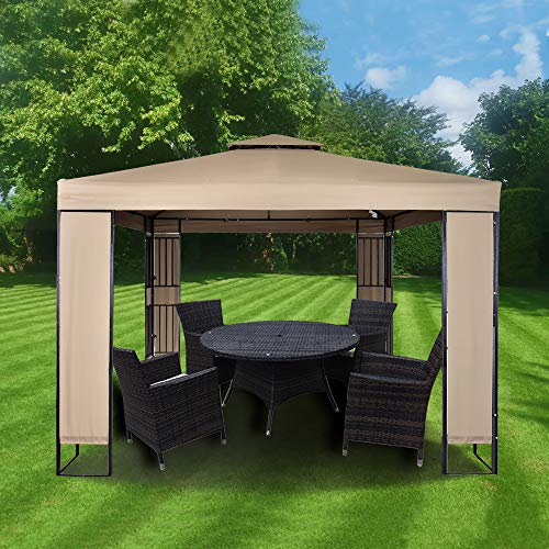 MAXIMUS GARDEN HEAVY DUTY GAZEBO 3mx3m GAZEBO Pavilion Shelter Marquee Patio (Beige)