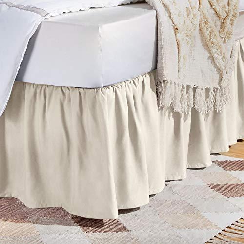 AmazonBasics Ruffled Bed Skirt - Twin, Off White