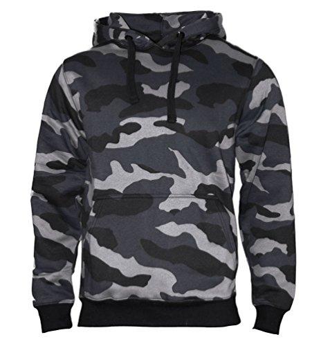 ROCK-IT Apparel® Sweat a Capuche Homme Worker Hoodie Sweatshirt Pullover Hoody Taille S-5XL qualité 330g et très Doux Couleur Camouflage - Gris/Noir X-Large
