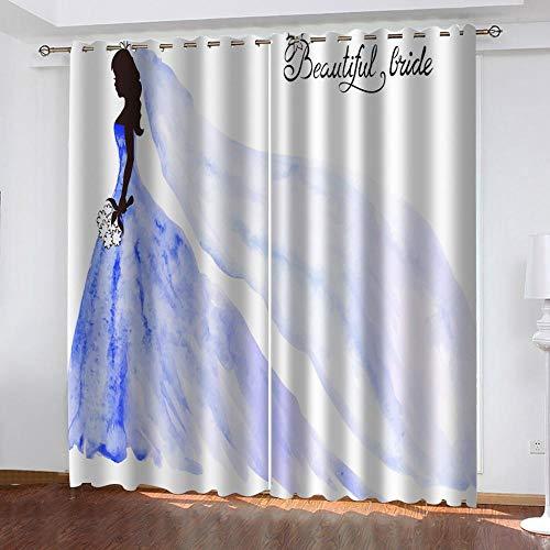 Agvvseso® Cortinas de sala de estar personalizadas Vestido de novia moderno minimalista mujer Cortinas opacas de impresión fotográfica de cortina 3D para cortinas de decoración de habitaciones (W)182