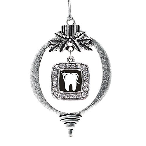 Inspired Silver - Shiny Tooth Charm Ornament - Silver Square Charm Holiday Ornaments with Cubic Zirconia Jewelry