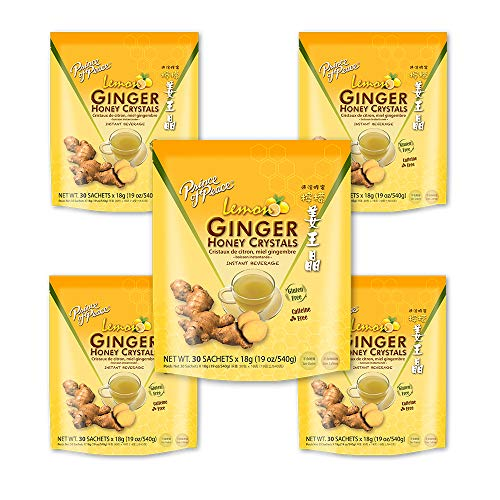 Prince of Peace Instant Lemon Ginger Honey Crystals, 5 Pack of 30 Sachets – Instant Hot or Cold Beverage for Nausea Relief and Soothes Throat – Easy to Brew Ginger and Honey Crystals – Drink Like a