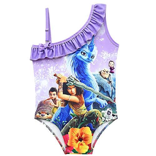 WATFULL - Costume da bagno intero da ragazza Raya e l'ultimo drago, con una spalla, gonna da spiaggia Viola 140 cm