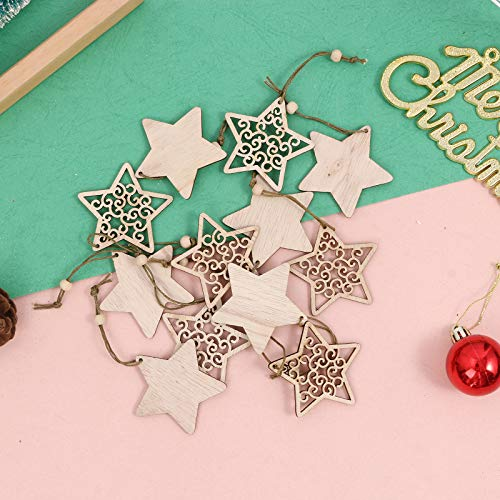 S.H.EEE Christmas Natural Wood Pendant, 12Pcs Christmas Ornaments Wood Tree Decorations Slices Wooden Hanging Crafts Snowflake Ornaments Gift Tags Decor Thanksgiving Wooden Hanging Decorations (C)