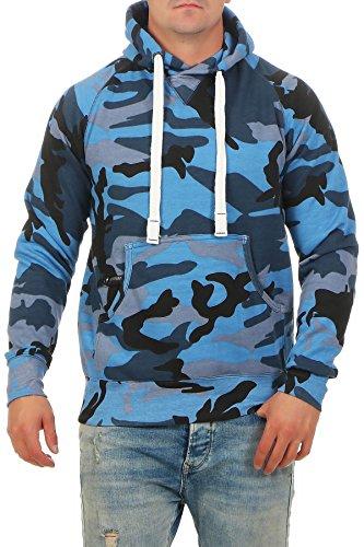 Happy Clothing Herren Pullover Camouflage Hoodie Blau Kapuzenpullover Pulli mit Kapuze, Größe:XL, Farbe:Blau