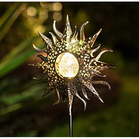 TAKE ME Sun Solar Lights Garden Outdoor,Waterproof Metal Decorative Stakes for Walkway,Yard,Lawn,Patio