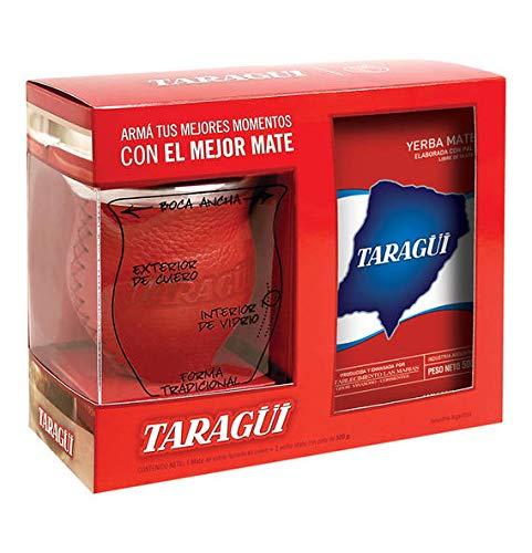 Kit Tradicional Taragüi- El kit matero ideal compuesto por un Mate de vidrio forrado en cuero, una Bombilla recta y un paquete de Yerba Mate con Taragüi 500 gramos