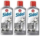 3 X SIDOL argento stagno oro 250 ML pulisce accuratamente stoviglie da tavola, posate, gioielli, briciole in peltro, figure in stagno, superfici cromate e molto altro senza graffiare (3 X 250 ML)