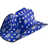 Budlight Cowboy Party Hat, Blue & White Stars with Budlight Logo, and Very Durable Hat with Elastic Band One Size Fits Most,Country Hats by Jobey's