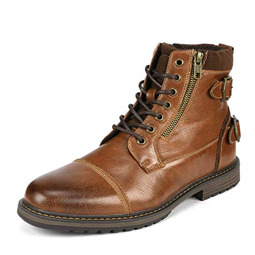 Bruno Marc Men's Philly_10 Camel Dress Combat Motorcycle Oxfords Chukka Boots Size 10.5 M US