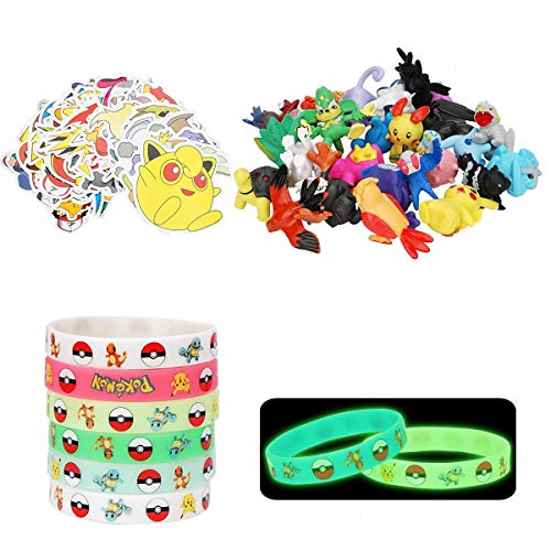 Herefun 24 pièces Jouets Pokemon, Pokemon Mini Figurine, Pikachu Mini Figures 2-3cm, 12 Bracelet Lumineux + 50 Autocollants Pokémon, pour Party Celebration Souvenirs de fête Enfants Adultes