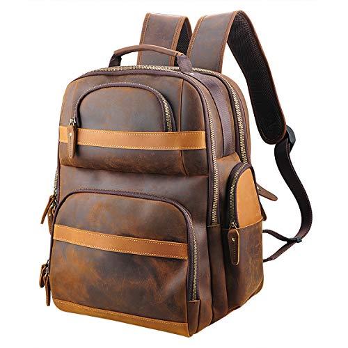 Lannsyne Men's Vintage Genuine Leather 15.6 Inch Laptop Backpack Large...