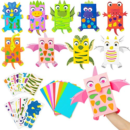 WATINC 9Pack Dinosaur Paper Hand Puppets Dino Art Craft Paper Sock Puppet DIY Make Your Own Puppet Kits Early Learning Classroom Family Storytelling Games Pretend Party Supplies for Toddles Boys Girls