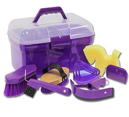 Putzbox Putzkiste befüllt mit Zubehör für Pferde Farbe: lila  Putzkasten   Putzkoffer Putzbox mit Inhalt