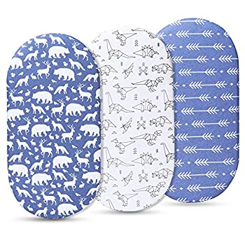 Momcozy Universal Bassinet Sheets for Boys 100% Breathable Cotton Sheet Set 3 Pack Fit for Most Bassinet Pad/Mattress Like Halo MiClassic Chicco Lullago and More  Blue