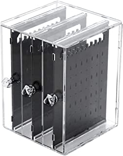 zebroau Boîte à Bijoux Boucle d'oreille Transparent Porte Rangement de Bijoux Support Organisateur Présentoir Anti-poussiè...
