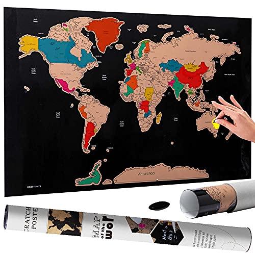 Bakaji Poster Mappamondo da Grattare Cartina Geografica Mappa del Mondo Scratch Off Dimensione 82,5 x 59,4 cm da Parete Muro Design Moderno Custodia Cilindro e Lima Idea Regalo (Nero)