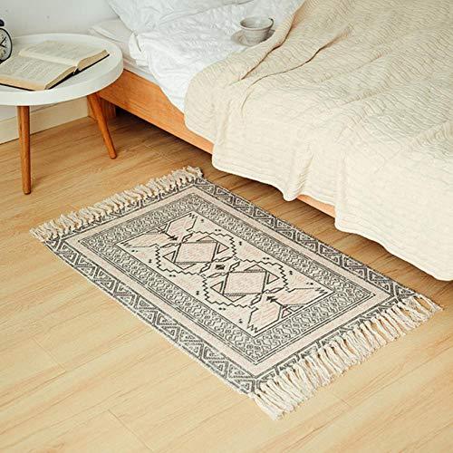 chenxiangy tapijt Marokko katoen hand geweven tapijt gebied tapijten Tufted kwastjes met Anti Skid Pad gooi tapijt bad mat deurmat tapijten 60X90Cm