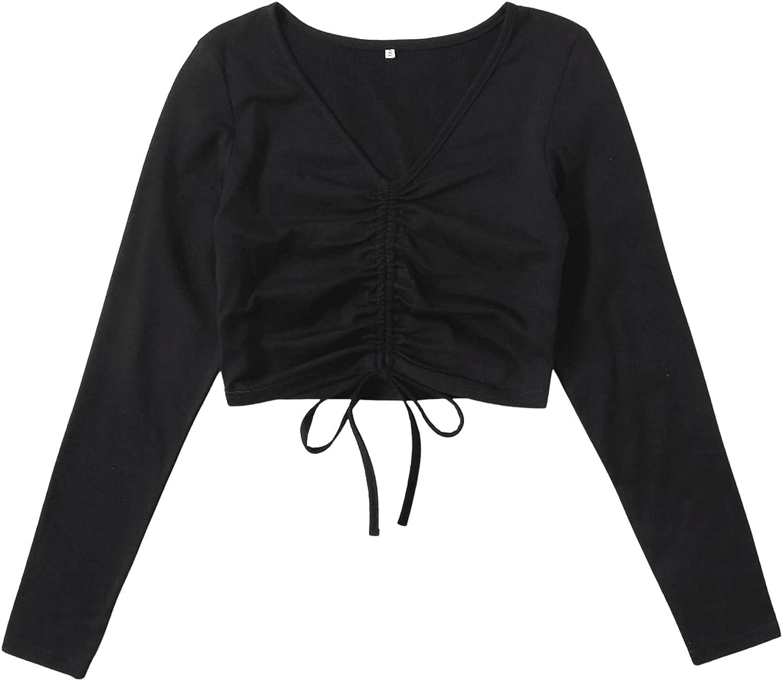 MakeMeChic Women's Plus Size Drawstring Front Long Sleeve Tee T-Shirt Crop Top