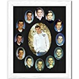 Northland School-Years Picture Frame - Oval Collage - Holds Twelve (12) 2.5' x 3.5' School Wallet Photos and 5' x 7' Kindergarten to Graduation Grad, White Frame, Black Mat