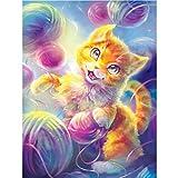 MXJSUA Kit de pintura 5D con números para adultos con diamantes de imitación, diseño de gato con cristales bordados punto de cruz, manualidades y suministros de lienzo,decoración de pared 30 x 40 cm