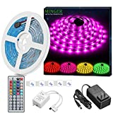 MINGER LED Strip Light Waterproof 16.4ft RGB SMD 5050 LED Rope Lighting Color Changing...