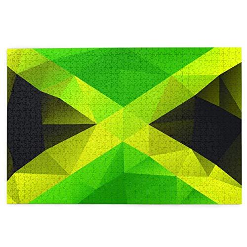 KIMDFACE Rompecabezas Puzzle 1000 Piezas,Diseño Polígono Triangular Jamaicano Bandera Abstracta Símbolo Nacional Geométrico,Puzzle Educa Inteligencia Jigsaw Puzzles para Niños Adultos