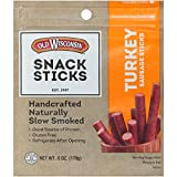 Old Wisconsin Turkey Sausage Snack Sticks, Naturally Smoked, Ready to Eat, High Protein, Low Carb, Keto, Gluten Free, 6 Ounce Resealable Package