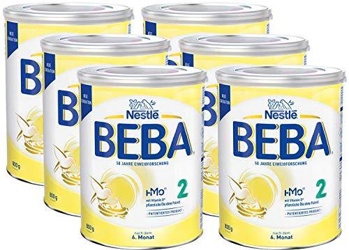 Nestlé BEBA 2 Folgemilch, Folgenahrung nach dem 6. Monat, 6er Pack (6 x 800g)