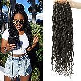 (6Packs)18Inch Wavy Senegalese Twist Crochet Hair Braids Wavy Ends Synthetic Hair Extension Curly Crochet Twist Braiding Hair (#4)