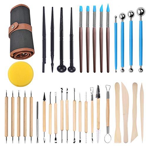 feihao Töpferwerkzeug, Modellier-Werkzeug Sculpting Werkzeug, 35 Stücke Polymer Clay Werkzeuge, Komplett Pottery Werkzeug-Set, für Anfänger Professionelle Kunsthandwerk,Skulptur