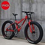 LLEH 24 Pulgadas de Bicicletas, Bicicletas de montaña Ciclismo, Adulto Bicicletas, 4,0 Fat Tire Bike Hombres y Mujeres de Ciclo al Aire Trabajar el Cuerpo Viaje y los desplazamientos,Rojo,27 Speed
