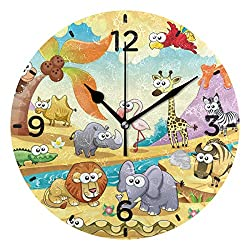 Senwei Cute Zoo Animal Cartoon Wall Clock Acrylic Decorative Round Clock Art for Home Decor Living Room Bedroom