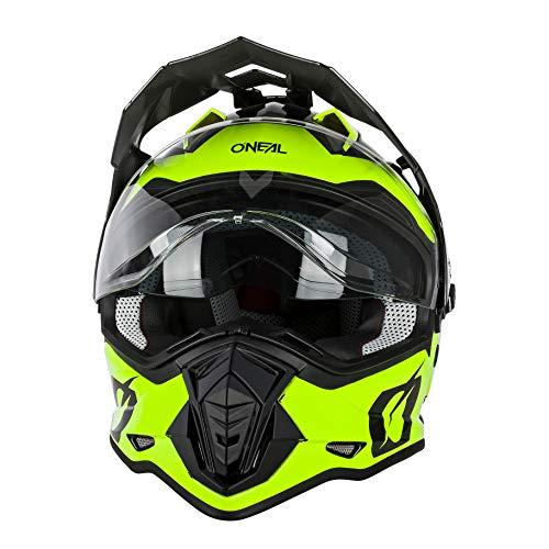 O'NEAL | Casco de Moto | Moto Enduro | Aberturas de ventilación para un máximo Flujo de Aire y refrigeración, Visera Solar integrada | Casco Sierra | Adultos | Negro Amarillo Neón | Talla L