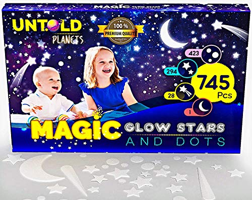 Glow in The Dark Stars for Ceiling 3D Realistic Wall Stickers Glowing Wall Decals Stickers Room Decor, 745 Stars, Dots Shooting Stars BONUS MOON for Starry Sky Kids Bedroom Decoration or Birthday Gift