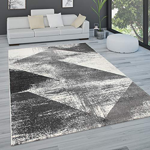 Paco Home Alfombra salón Pelo Corto Vintage Pastel Motivos Abstractos Distintos Estilos, tamaño:160x230 cm, Color:Antracita