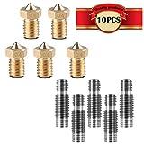 CESFONJER 10 pc/set: 5 piezas 1.75mm boquillas de acero inoxidable garganta con tubo de PTFE + cabezales de impresión boquilla extrusora de 5 mm 0.4mm, para impresora V6 Makerbot 3D